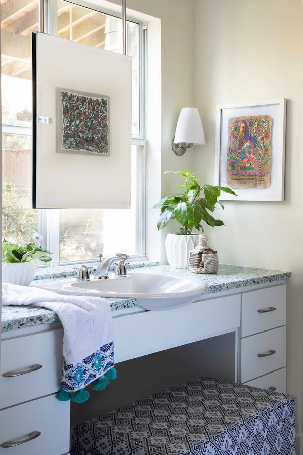 Emily June designer Vetrazzo recycled glass countertops blue bathroom