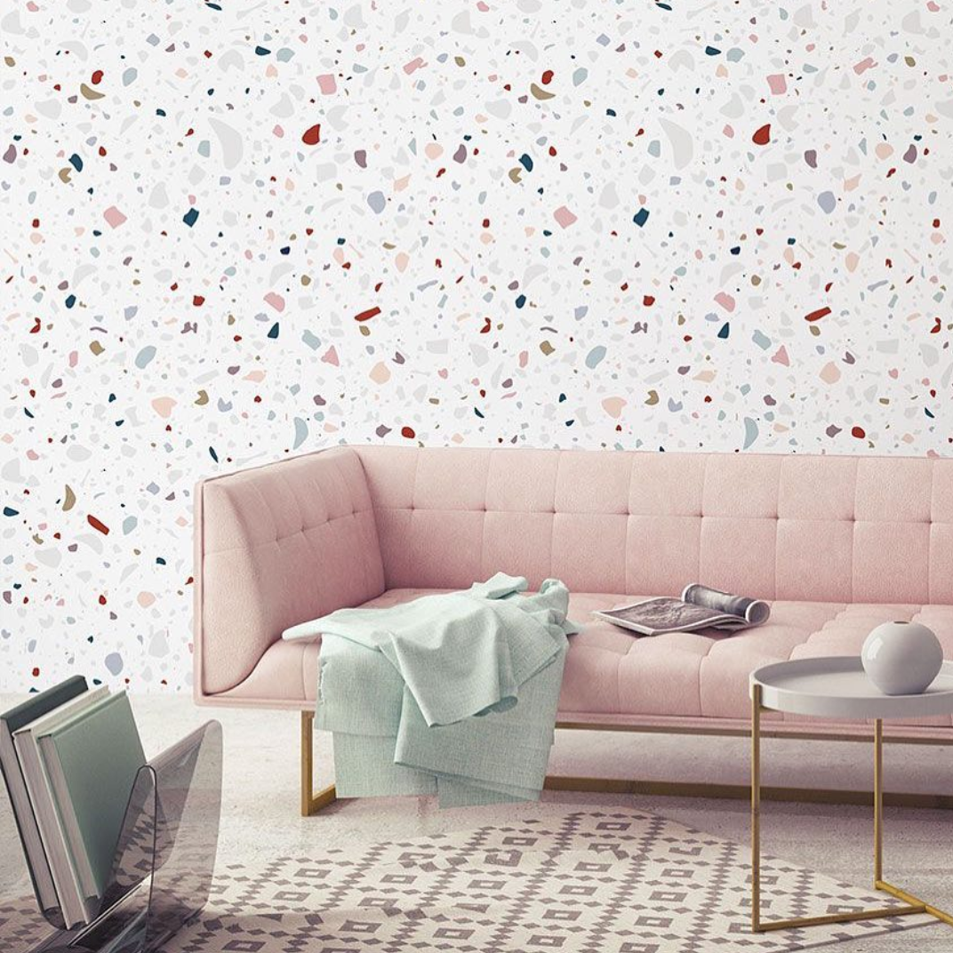 A beautiful Terrazzo style feature wall. Photo Instagram @tapetujemy.pl
