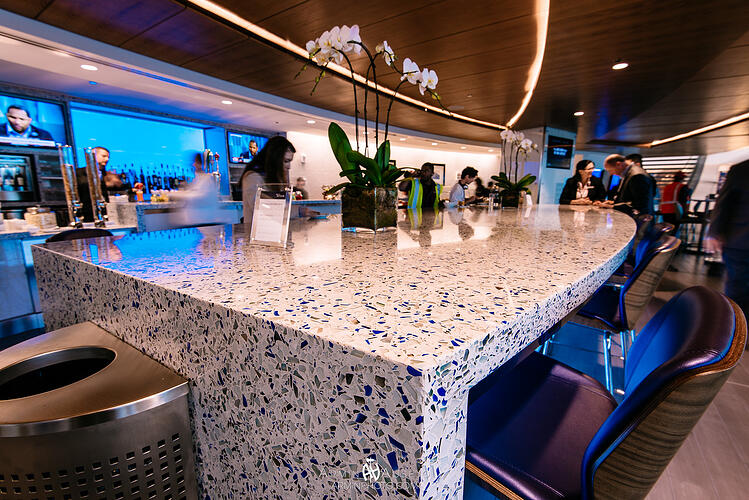 Vetrazzo Seattle Delta Sky Lounge up close counter Chivalry Blue
