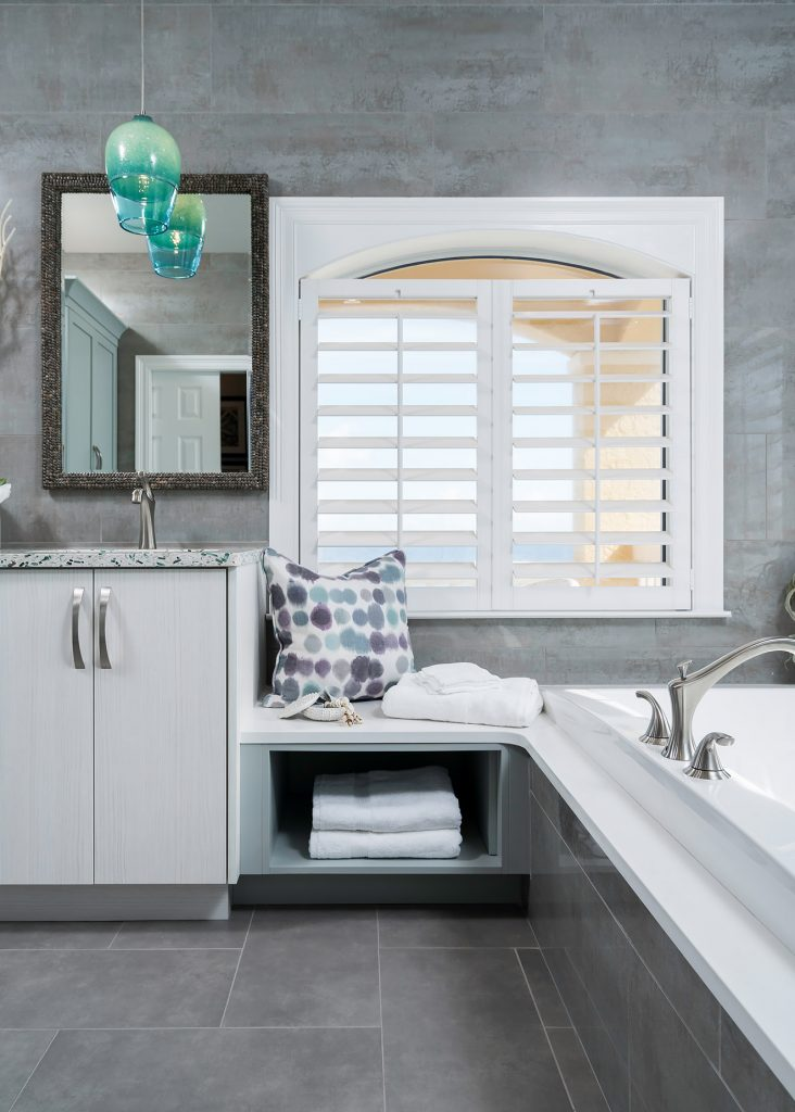 Perdido In Details Interiors recycled glass countertop coastal bath-1